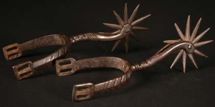 21: A Pair of 18th Century Spanish Spurs with spiked ro