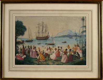 447: A 19th Century Watercolour of West Indies Harbour