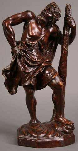 3: A French Wood Carving of St Christopher by Bagard of