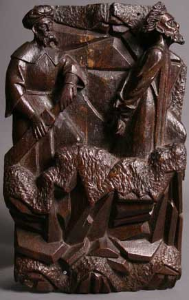 5: A Late 15th Century Antwerp Oak Relief Carving of Tw