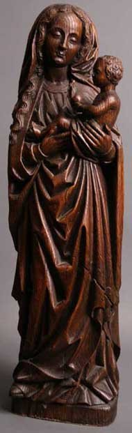 7: A Fine French (Troyes) Oak Carving of Virgin & Child