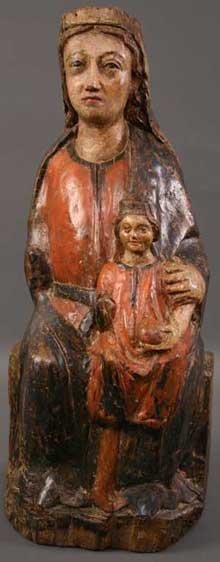 16: A 15th Century Polychrome Carving of Virgin & Child