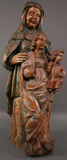 17: A 16th Century Polychromed Pine Carved Figure Group