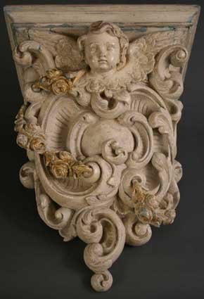 19: A Carved & Painted 18th Century Flemish Wall Bracke