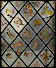 196: An Antique Stained & Leaded Lattice Work Window of