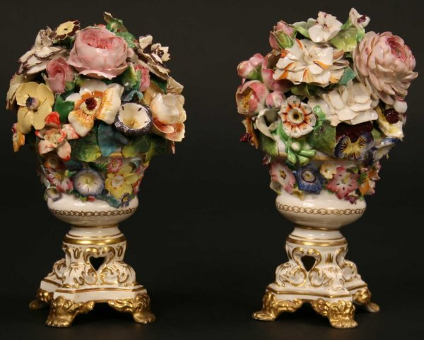 6: A Pair of Bloor Derby Flower Encrusted Ornaments (A/