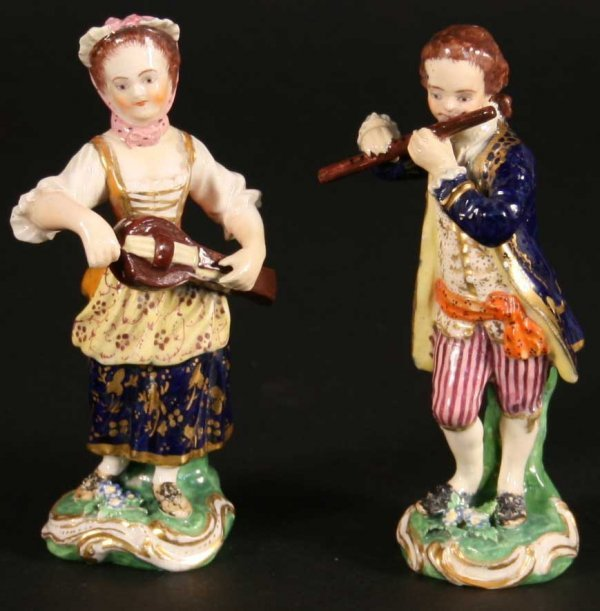 9: A Pair of Small 19th Century Derby Figures of Luteni