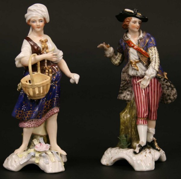 23: A Pair of Samson Derby Porcelain Figures of a Man &
