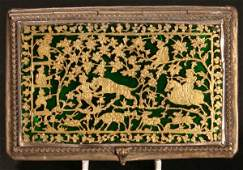 76 A Delightful Indian Gilt Metal  Enamel Box of rect