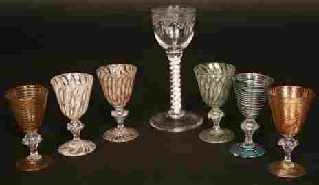 82: A Collection of Six Small 19th Century Venetian Liq