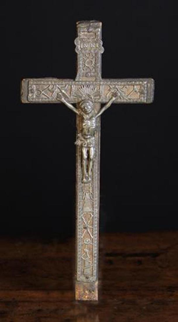An 18th Century French Wooden Crucifix with decorative