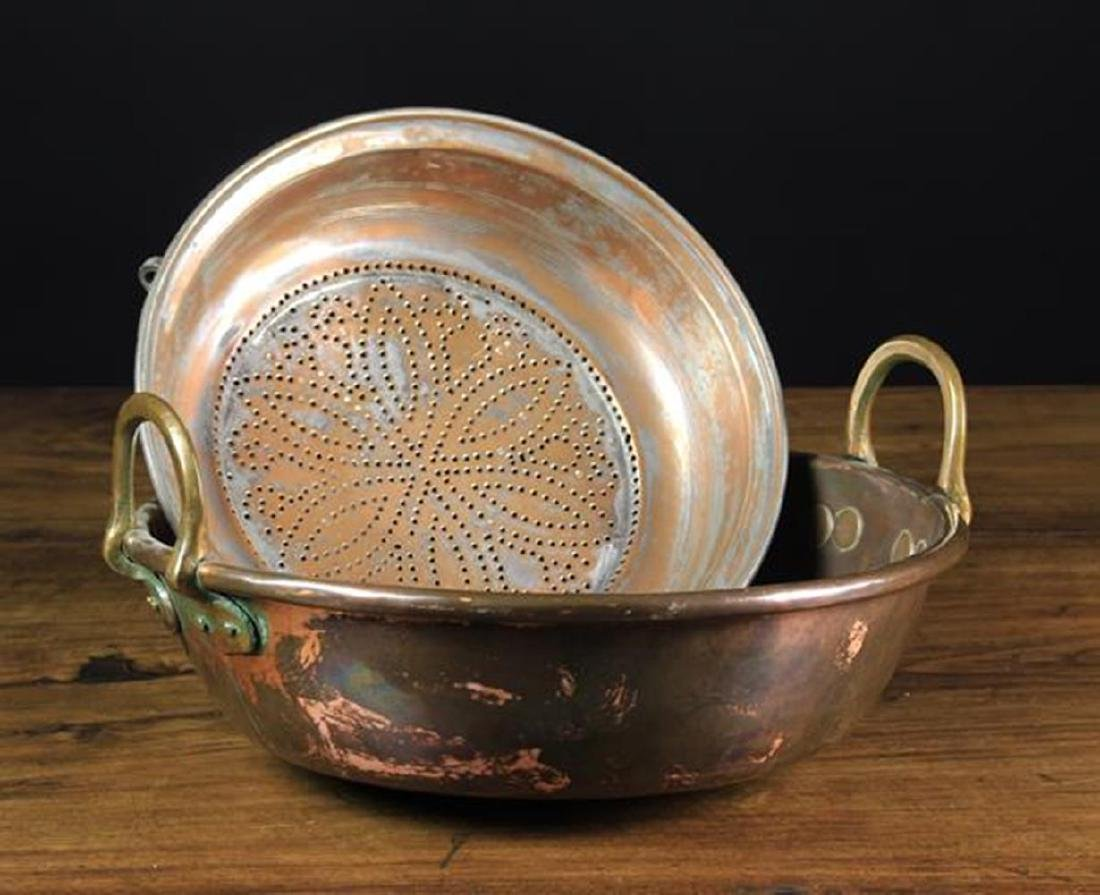 An 18th Century Copper Colander with decoratively