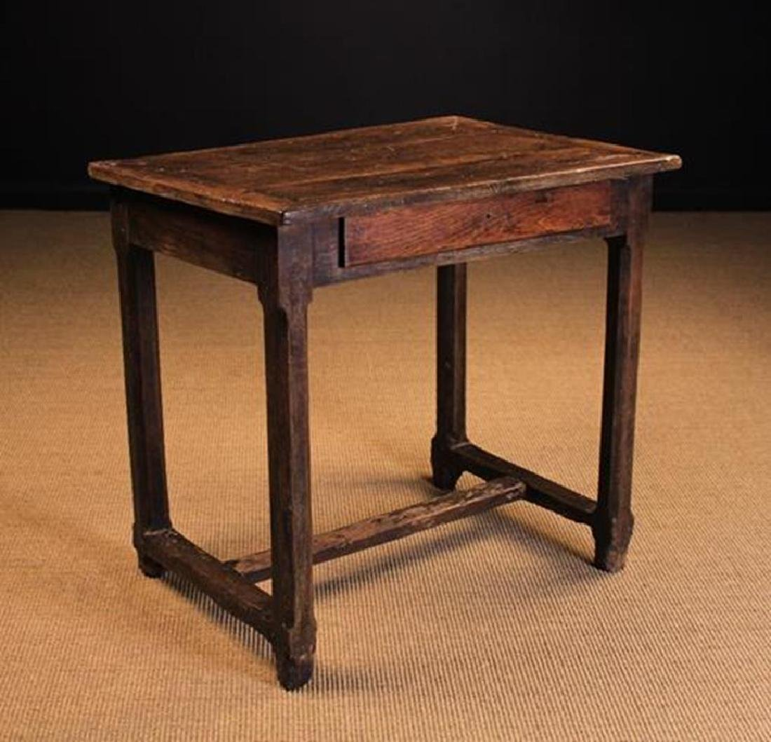 An 18th Century French Joined Oak Side Table (A/F). The