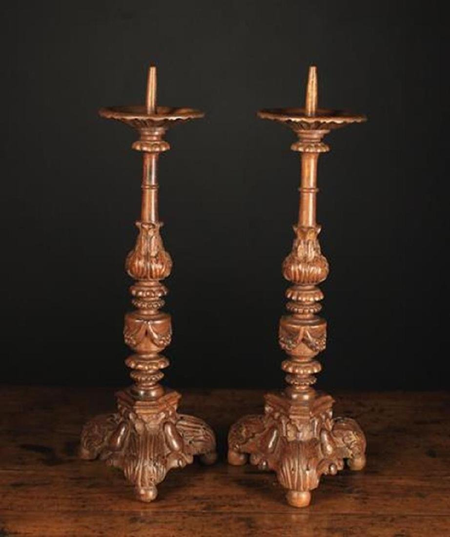 A Pair of Carved Baroque Style Wooden Pricket