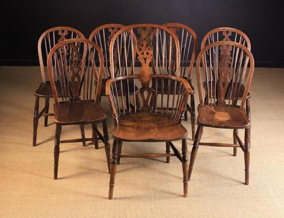 A Set of Wheel-back Windsor Kitchen Dining Chairs