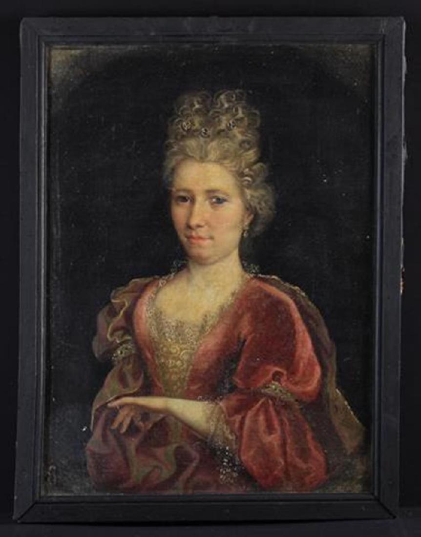 An Early 18th Century Oil on Canvas: Portrait of a