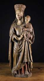 A Fabulous 16th Century Carved Wood Sculpture of Virgin