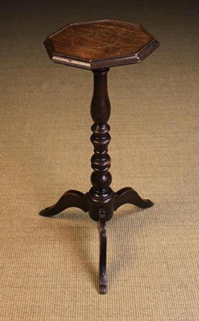 A Queen Anne Oak & Walnut Tripod Candle-stand. The