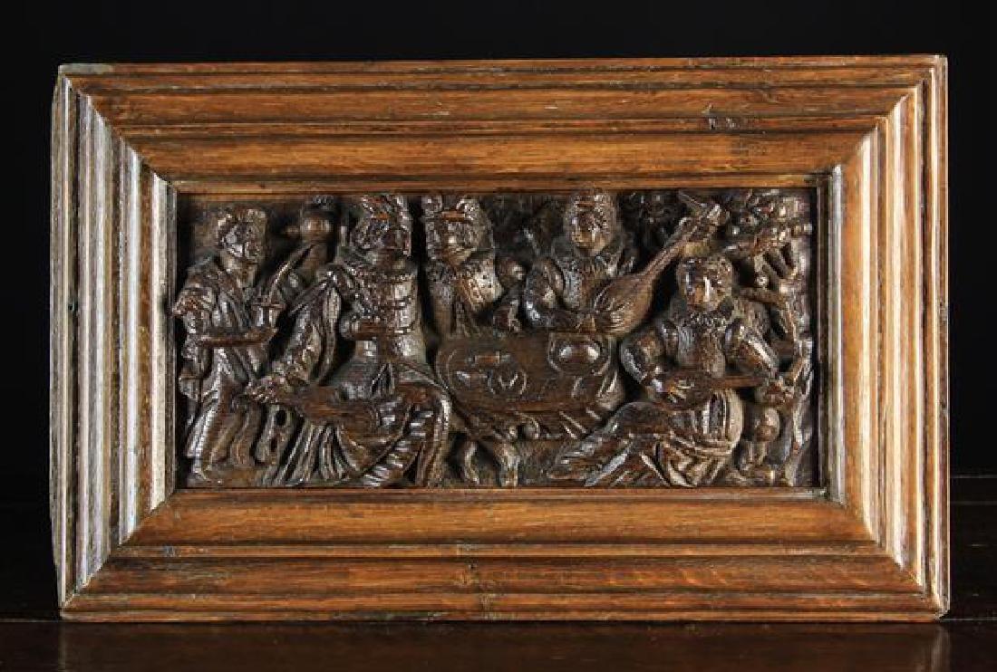A Fine 16th Century Oak Scenic Pane