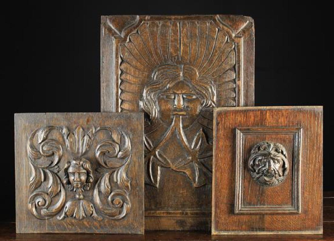 Three Antique Carved Oak Panels