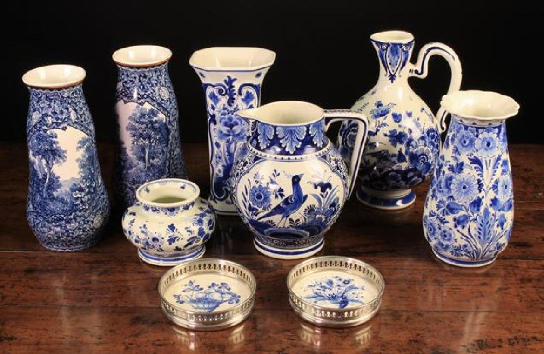 A Collection of 20th Century Blue & White hand-painted