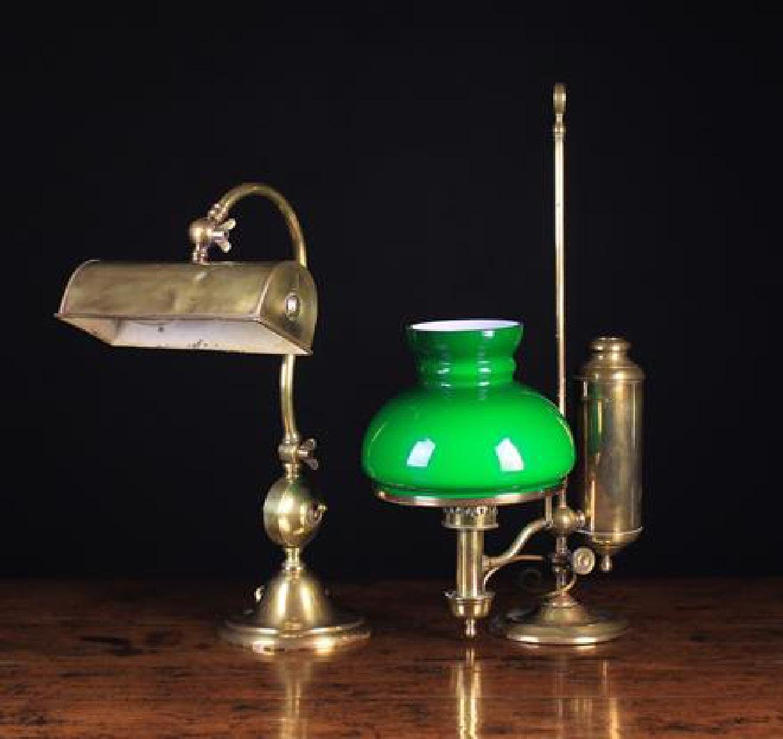Two Victorian Style Brass Desk Lamps.