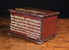 A Painted Offertory Box of rectangular form; the hinged