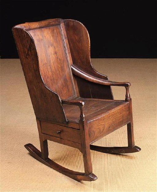 Enjoyable A 19Th Century Oak Panel Back Rocking Chair With Winged Gamerscity Chair Design For Home Gamerscityorg