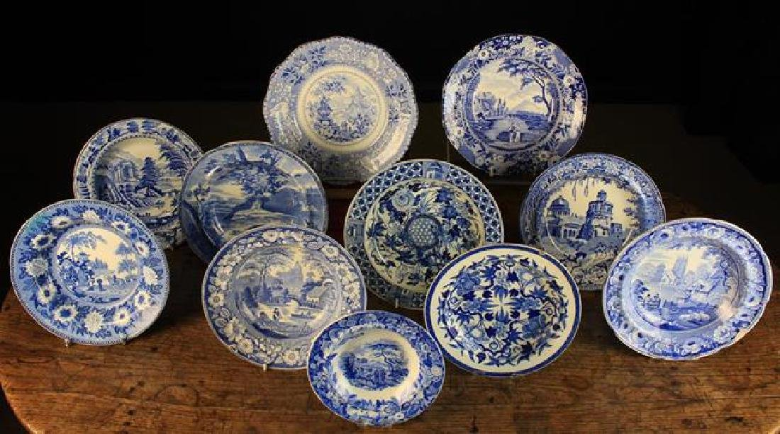 A Group of Eleven 19th Century Decorative Blue & White