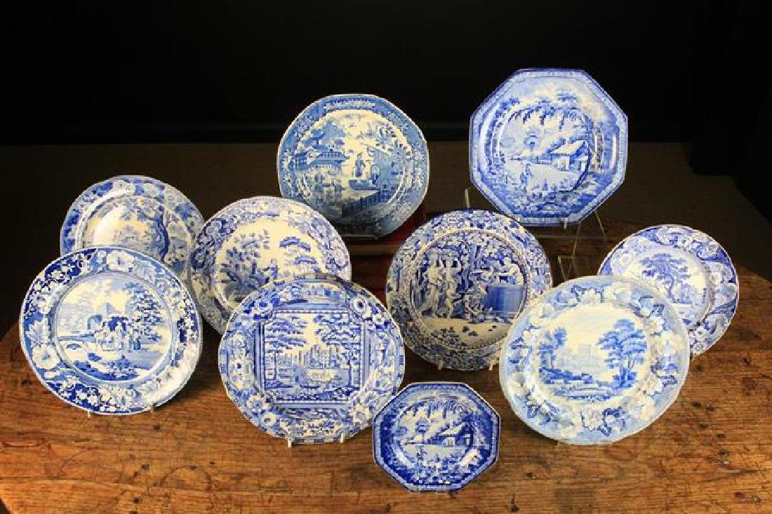 A Group of Ten 19th Century Blue & White Transfer