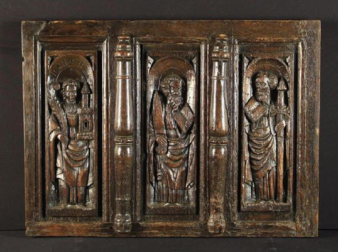 A Section of 16th Century Oak Panelling. The three