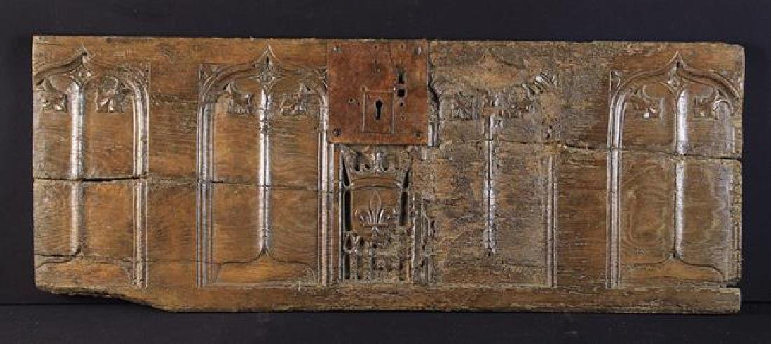 An Early 16th Century French Oak Coffer Front carved