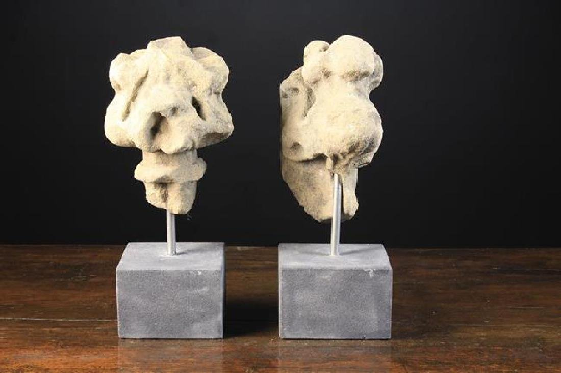 Two Gothic Carved Stone Architectural Finial Fragments,