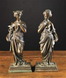 A Pair of 19th Century Bronze Figures: Classical nymphs