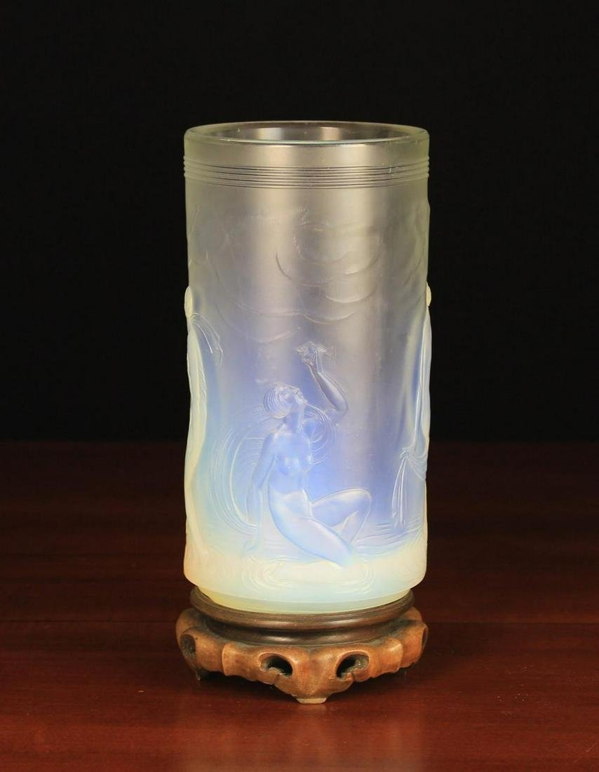 An Art Deco Opalescent Glass Vase of cylindrical form
