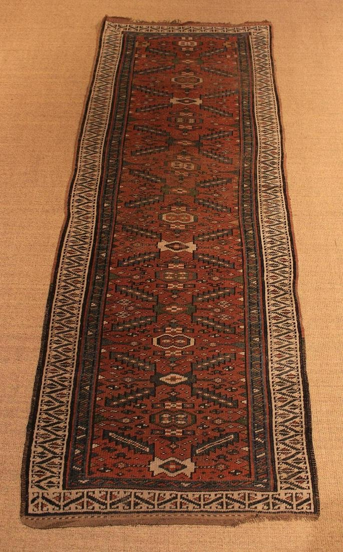 A Wool Runner woven with blue and ivory stepped