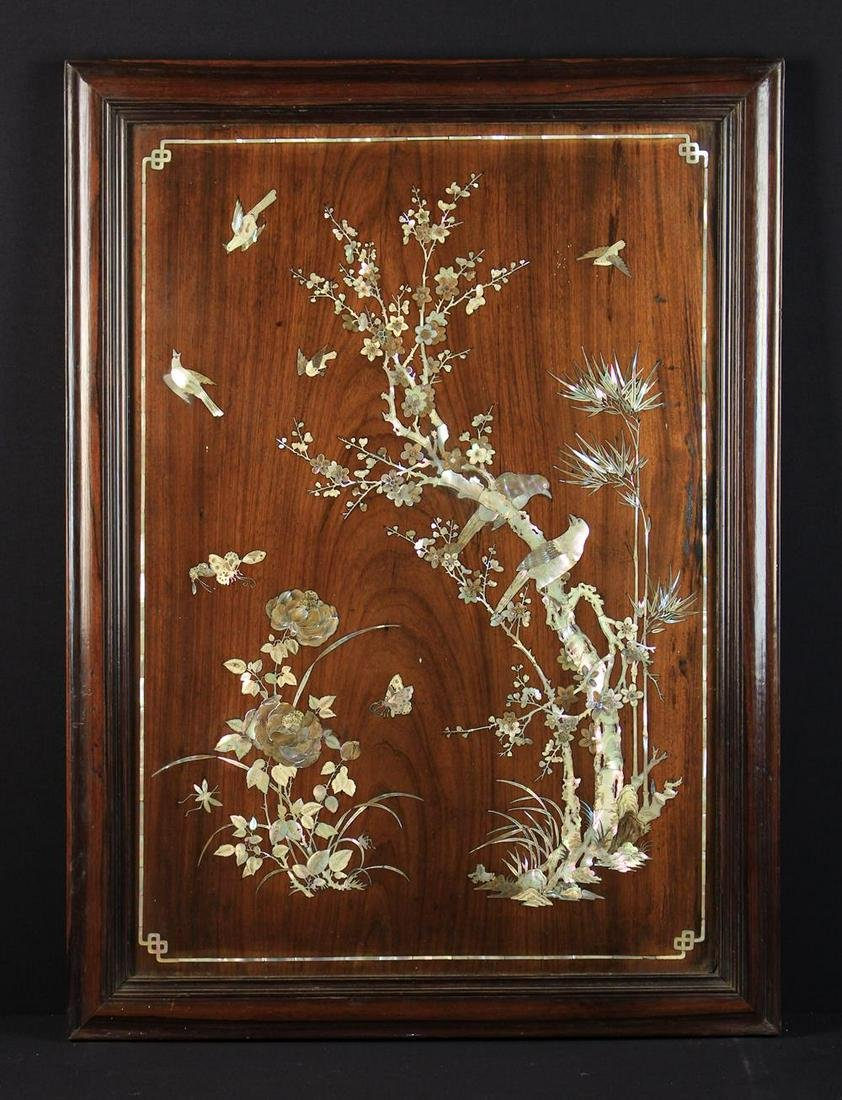 A Fine 19th Century Padouk Wood Panel inlaid with