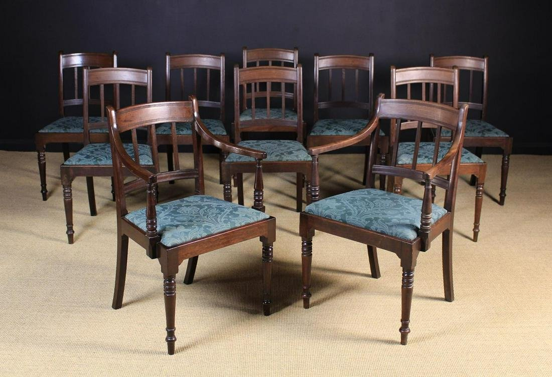 A Set of Ten George IV Mahogany Dining Chairs including