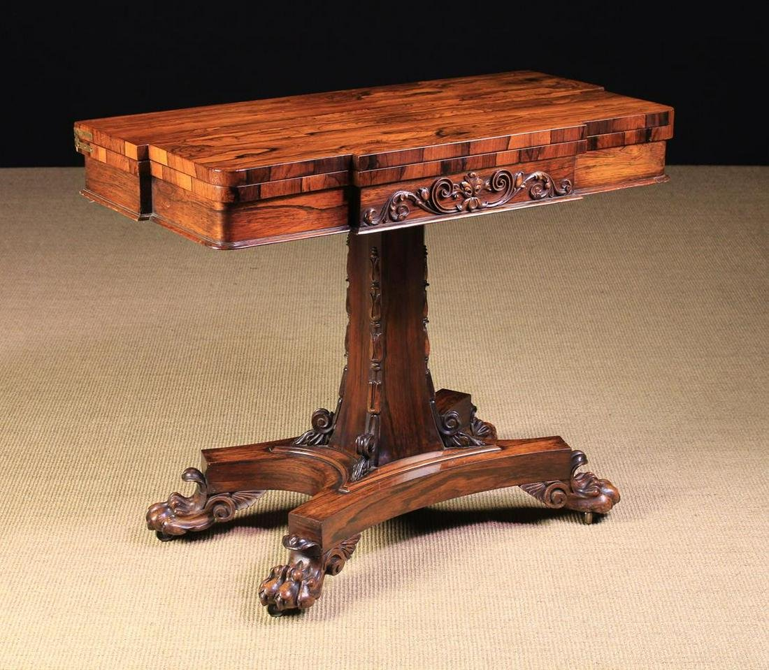 A Fine William IV Rosewood Fold Over Card table. The