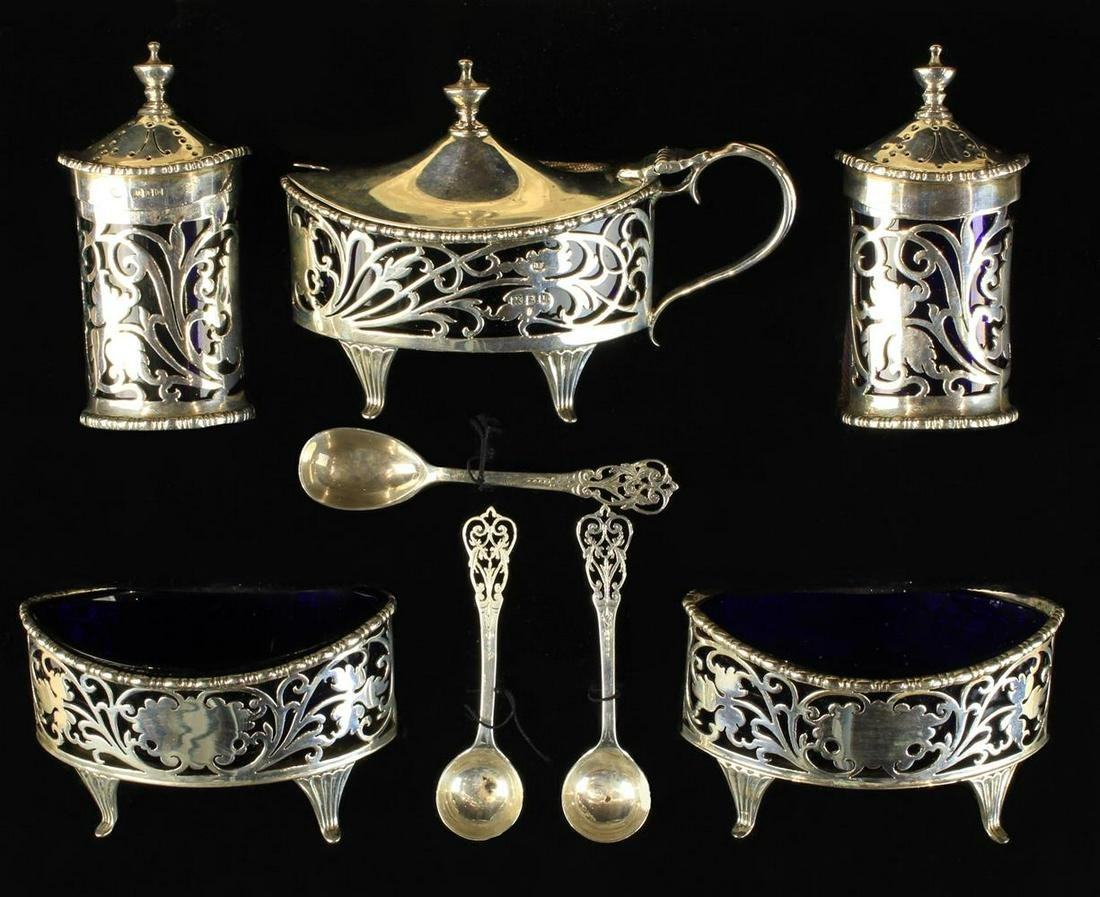 A Fine Cased Silver Condiment Set with assay marks for