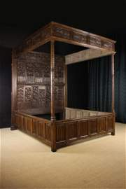 A Magnificent Joined Oak Canopy Bed of Impressive