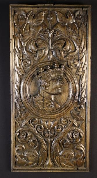 A Large Early 16th Century French Romayne Panel carved