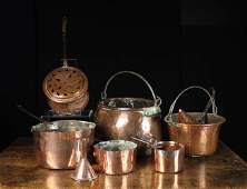 A Group of Antique Copper Kitchenware A large ova