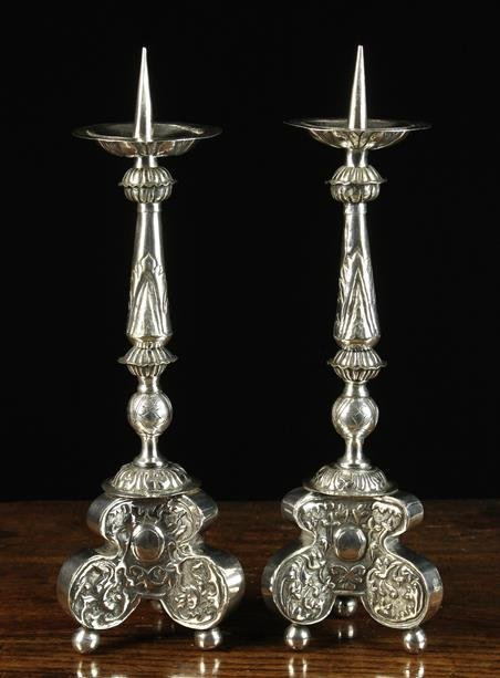 A Pair of 18th Century Repoussé White Sheet Metal