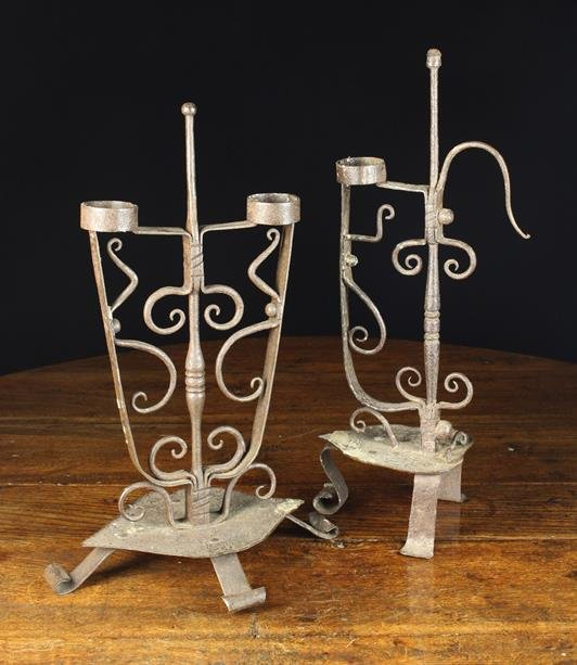 Two 17th Century Style Wrought Iron Candle/Torch H