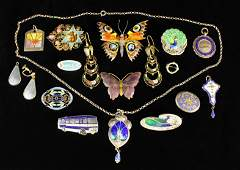A Collection of Enamelled Vintage Jewellery; eight on