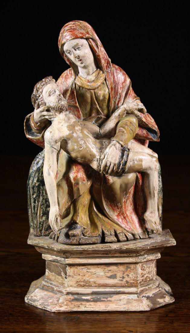 5: A Small & Fine 16th/17th Century Polychrome Pieta, r