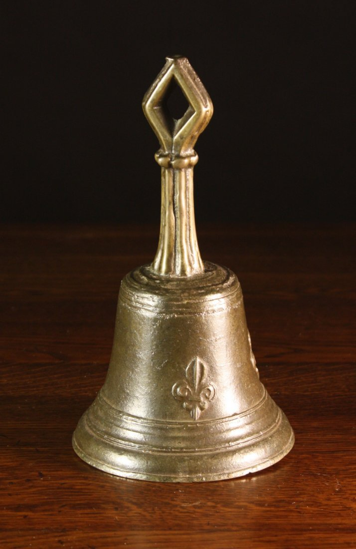 8: A 16th Century Gothic Bronze Hand Bell cast with fle