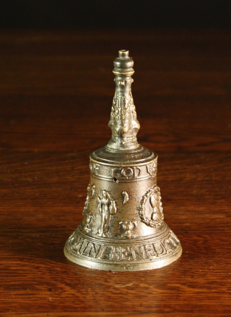 9: A Small 16th Century Malines Bronze Hand Bell cast w