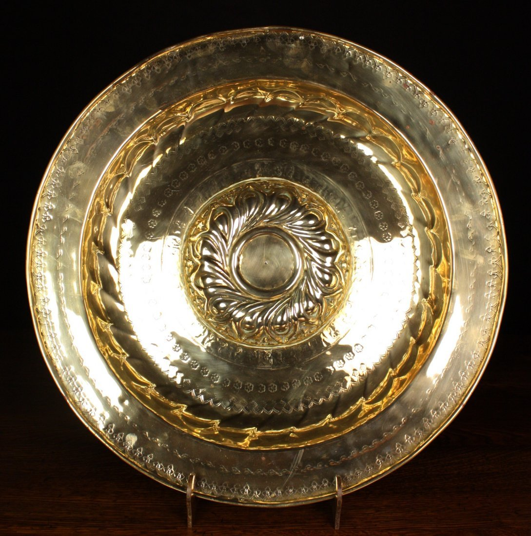 15: A Large 17th Century Brass Nuremberg Alms Dish with